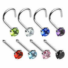 ROUND PRONGED GEM NOSE STUD CURVED or STRAIGHT 316 Surgical Steel