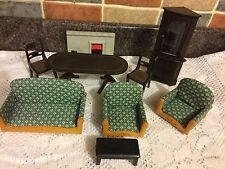 DOLLS HOUSE LIVING ROOM FURNITURE SETTEE FIREPLACE TABLE FREE POST