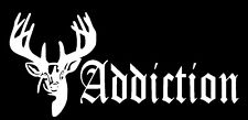 Addiction White decal hunting car/truck window sticker funny Whitetail