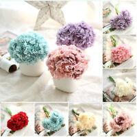 Artificial Fake Flowers Carnations Floral Wedding Bouquet Bridal Hydrangea Decor
