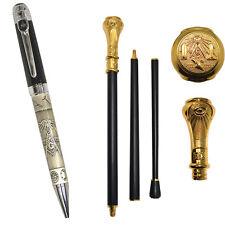 NEW (Set) Freemason Two-Tone Ballpoint Pen & Masonic Engraved Walking Stick Cane