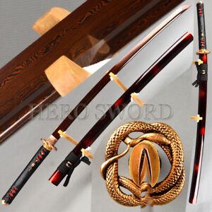 High Quality Brass Snake Japanese samurai sword Red Damascus Folded Steel Katana