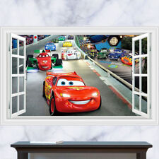Cartoon Cars Racing McQueen Wall Sticker 3D Window Effect Kids Decal Art Mural
