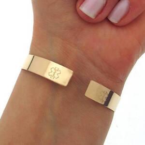 Medical Gold Bracelet, Medical ID Jewelry Custom Engraved ID Emergency Cuff gift