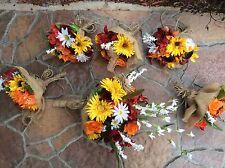 Wedding flowers bridal bouquet sunflowers bridal decorations burgundy red orange