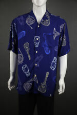 New Tommy Bahama Latin Fusion Guitar Horn Sax Music Rayon Blue Camp Shirt  L XL
