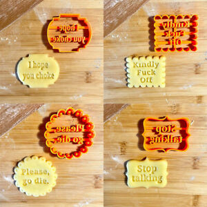 4Pcs Cookie Molds With Good Wishes Cookie Form W/ Fun Irreverent Phrases Moulds