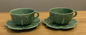 Vintage Portuguese Bordallo Pinheiro Green Cabbage Two X  Large Cups & Saucers.