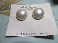 VtG Pierced Button Pearl 1-20 12Kt Gold Filled Earwires New Old Stock on Card