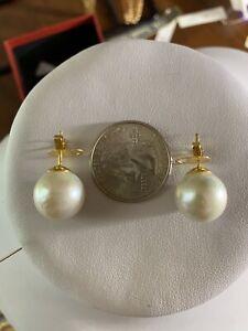18K Saudi YELLOW Gold Women's white South Sea Pearl Earring