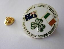 Irish And Proud St Patrick's Day Down Under Pin Badge Australia Ireland Flags