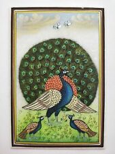 Miniature Handmade Paintings on Marble Peacock Bird Home Decoration