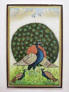 Miniature Handmade Paintings on Marble Peacock Bird Home Decoration
