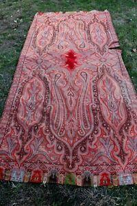 "Enormous Antique Wool Paisley Kashmir Shawl~Red Center c1850-1860~L-130""X W-61"""