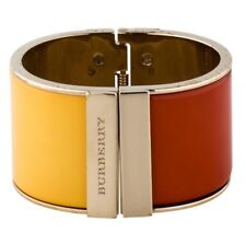 Burberry Designer Runway Red Yellow Orange CORAL Wide Gold CUFF Hinged ITALY