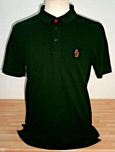 Mens ALL Black SLIM Fit LUKE 1977 Polo Shirt - Size XL - EXCELLENT Condition