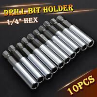 10 Pc Socket Drill Bit Holders Hex Shank Magnetic Extension For Screwdriver ghj