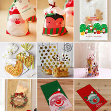 20Pcs Gold Christmas Xmas Cello Cellophane Party Sweet Cookie Biscuit Gift Bags