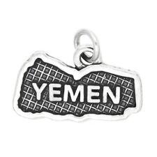 LGU® Sterling Silver Oxidized Travel Map of Yemen Charm (Options)