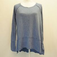 Style & Co Womens Top S Scoop Neck High Low Hem Raw Edge Tunic Carbon Blue $34