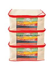 Combo of 3 Saree Shirts suits Garment Covers organizers case Storage Bag Beige