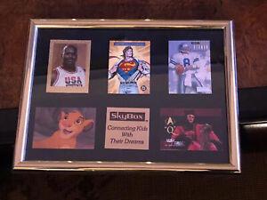 5x Framed 1994 SKYBOX Inserts SHAQ SUPERMAN TROY AIKMAN STAR TREK LION KING RARE