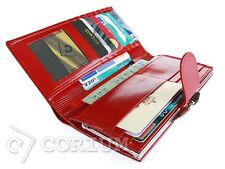 Fashion Women Button Clutch Purse Wallet Girls Leather Coin Purse Red