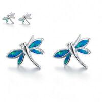 Stud Opal Earrings White Silver Plated Fire Jewelry Dragonfly Women Cute Wedding