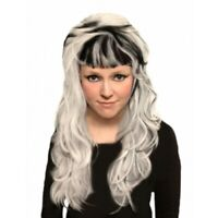 GOTHIC CURLS WIG Long BLACK WHITE HAIR Fancy Dress Cos Play Party NEW