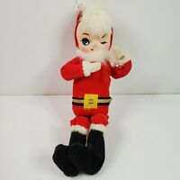 Vtg Holiday Fair 1963 Winking Santa Claus Elf Pixie Poseable Doll Figurine Japan