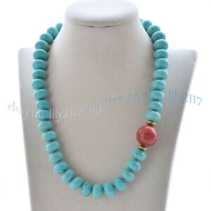 5x8mm Blue Turquoise Rondelle Gems Beads & 14mm Round Red Coral Pendant Necklace