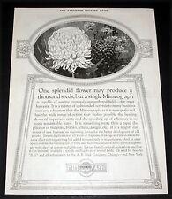 1922 OLD MAGAZINE PRINT AD, A.B. DICK MIMEOGRAPH MACHINE, SPLENDID FLOWER ART!