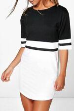 Ladies Short Sleeve Oversized Contrast Womens Baggy Stripes Curved Hem PJ Dress