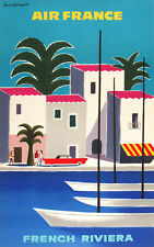 Air France French Riviera A0 vintage art deco painting print canvas boats blue