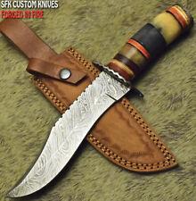 SFK CUTLERY CUSTOM HANDMADE DAMASCUS ART HUNTING BOWIE KNIFE CAMEL BONE