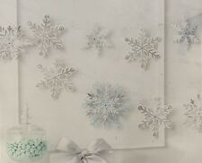 Martha Stewart Snowflake Garland, White, Silver, Blue Christmas New Years