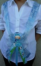 1Baby Shower MOM TO BE SASH,BLUE/BOY, Ribbon Favor,Handmade, Party,MommyCorsage