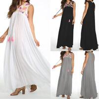 Women Bohemia Summer Evening Party Sundress Oversized Sleeveless Long Maxi Dress
