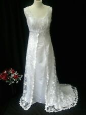 BEAUTIFUL SEQUINNED WHITE LACE WEDDING DRESS SIZE UK 12 – NEW