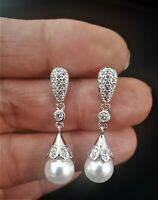 Classic Bridal Wedding Sterling Silver Freshwater Pearl Earrings