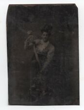 Rare 1870s Tintype Photo of American Baseball Player with Bat & Catchers Mask