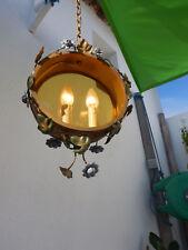 ancienne lanterne tôle métal peint lustre