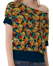 Teal Skull Diamond Flowers Women's Clothing Top T-Shirts One Shoulder