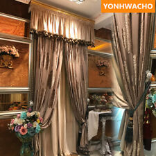 Luxury embroidered tulle coffee velvet solid cloth blackout curtain tulle B247