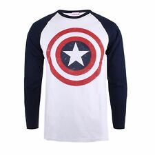 Marvel Captain America Shield Long Sleeve Contrast Mens T-Shirt - Sizes S-XXL