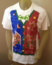 NWT CHRISTMAS VEST T-Shirt Bowtie Gingerbread House Christmas Tree Adult Large L