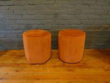 Ashley Manor Room small Hexagonal footstool velvet stool orange velvet round Hex
