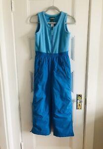 LL Bean Fleece Bib Overall Snow Pants Size 10 Girls Ski Turquoise Aqua Blue