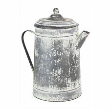 Jug Kettle White Metal Vintage Country Flowers Antique Shabby Chic Rustic Farm
