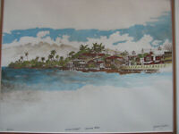 1970s JEROME FISHER Watercolor Print LAHAINA MAUI HAWAII vintage